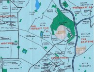 Oil paint map for Kathleen Miles of the surrounding neighborhood