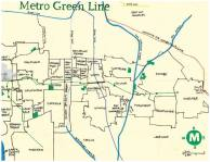 Oil and ink map of the Metro Green Line -- Nobody Walks in LA -- The Green Line: From Nowhere to Nowhere and All Points in Between