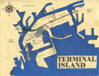 Ink and oil paint map of Terminal Island, c. 2011, 2014 -- California Fool's Gold — Exploring Terminal Island
