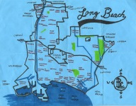 Ink map and white-out map of Long Beach, 2011 -- California Fool's Gold — Exploring Long Beach, The International City