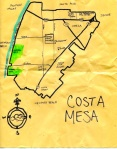 Ink map of Costa Mesa, 2010 (color since added to compass rose) -- California Fool's Gold — Exploring Costa Mesa, The Standing Ovation Capital of Orange County