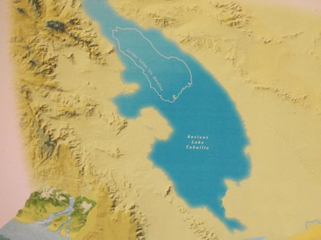 A map from the Salton Sea Museum showing the size and location of Lake Cahuilla and the Salton Sea.