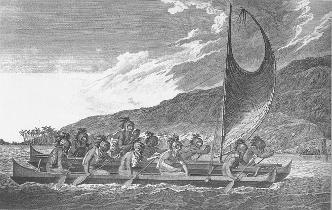 Hawaiian navigators sailing multi-hulled canoe, c. 1781