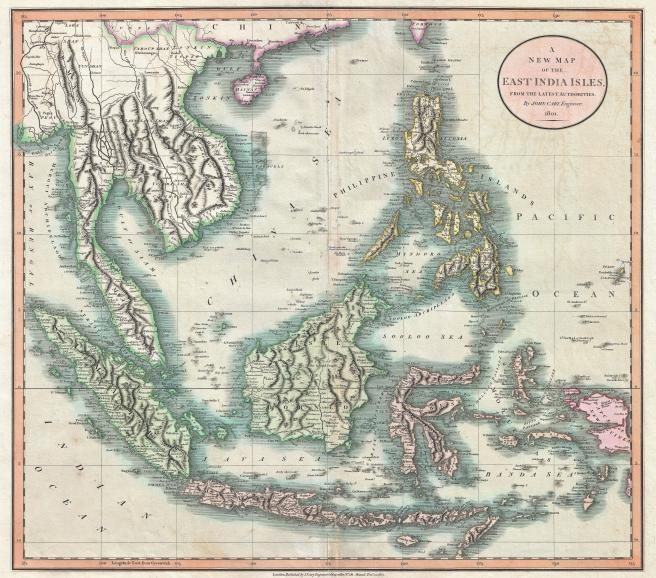 Map of the Indies from Cary's New Universal Atlas, containing distinct maps of all the principal states and kingdoms throughout the World. From the latest and best authorities extant. London: Printed for J. Cary, Engraver and Map-seller, No. 181, near Norfolk Street, Strand, 1808.