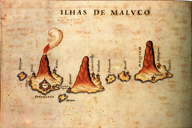 Stylised view of the Moluccas and the main forts, by Portuguese Bocarro 1635 (Image source: Spice Island Forts)