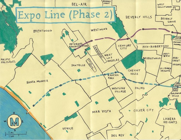 Pendersleigh & Sons Cartography's oil paint map of the Expo Line (Phase 2)