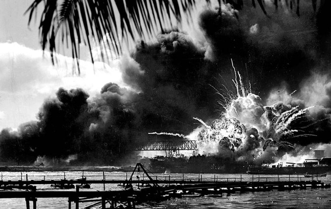 The USS Shaw exploded after being struck during the attack on Pearl Harbor December 7, 1941 (Image source: US Navy)