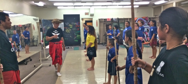 Frank Rabon instructs Chamorro dancers in Long Beach, California (Image source: Go Island)