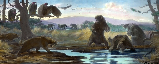 Greater Hancock Park scene in the Eocene or Pleistocene epoch