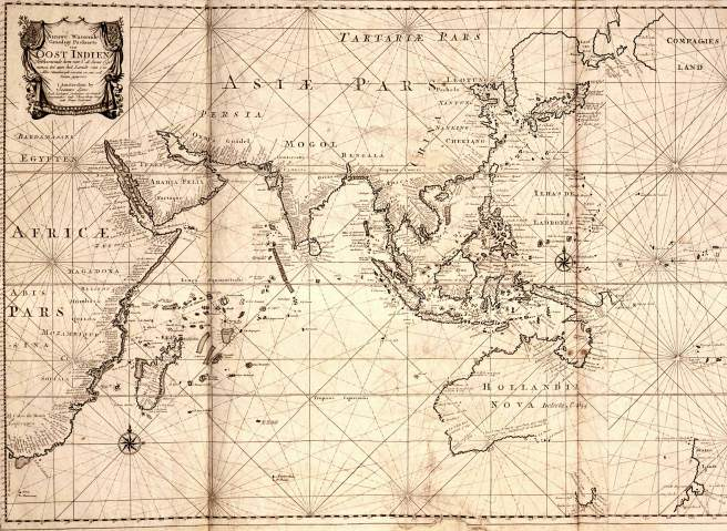 Map of the East Indies; the official trade zone (octrooigebied) of the VOC according to the VOC Charter, which was between Cape of Good Hope (South Africa) and Street Magallan (South America); printed c. 1700.