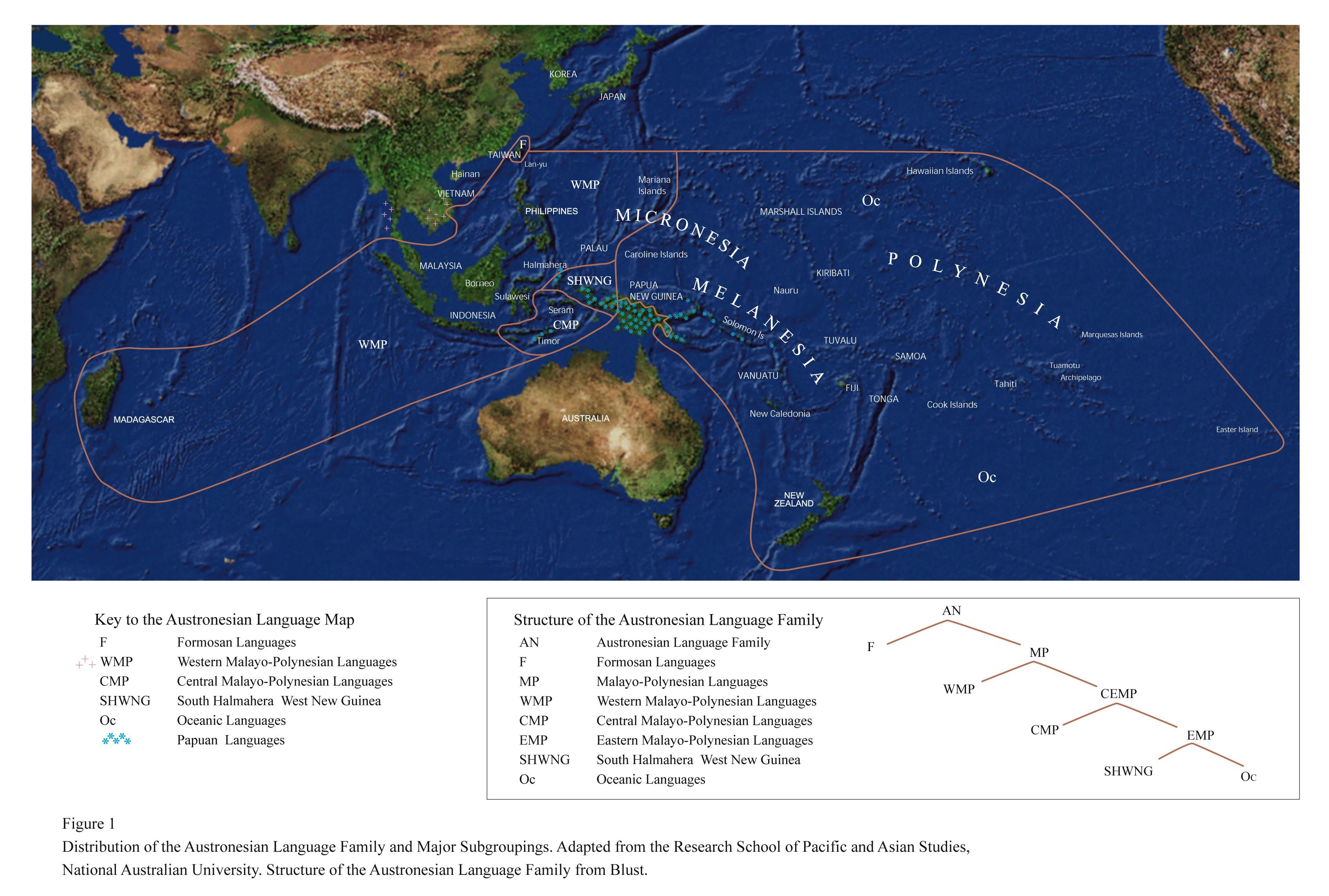 Austronesian language map