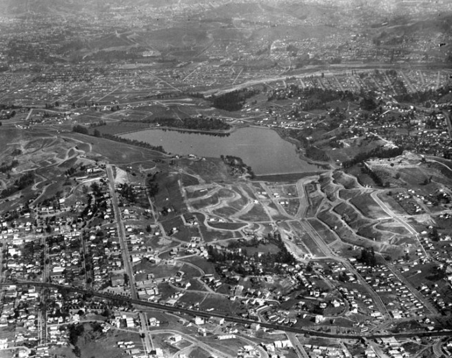 Aerial view Silver Lake Reservoir, vicinity - 1924 (LAPL - Security Pacific National Bank Collection)