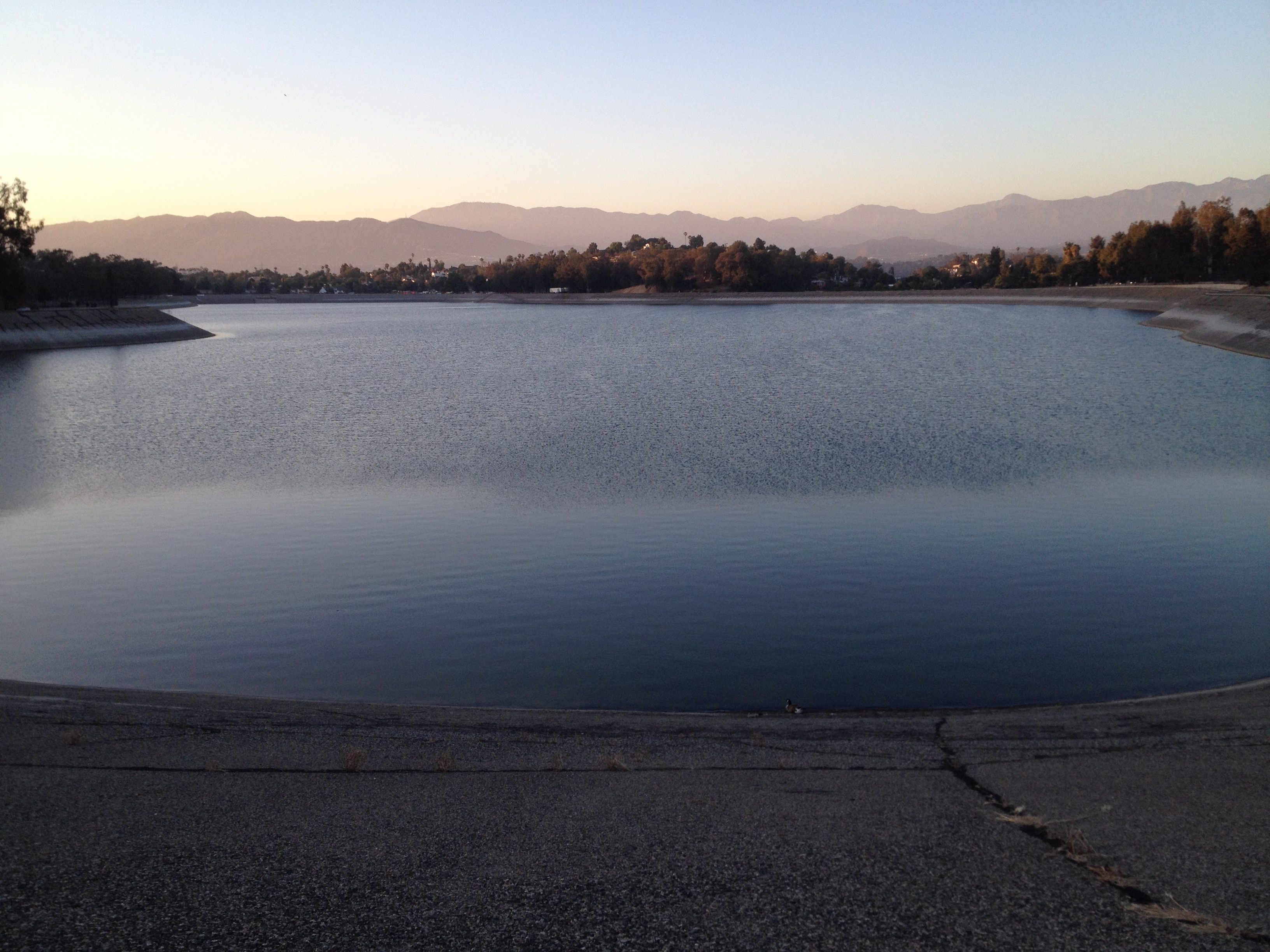 View of the Silver Lake Reservoir from the south dam