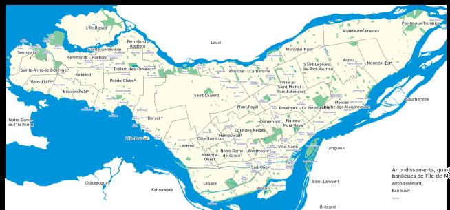 Boroughs, neighbourhoods and suburbs on Montréal Island (map by Emdx)