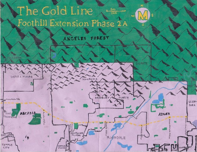 Pendersleigh & Sons Cartography's map of Metro's Gold Line Foothill Extension Phase 2A