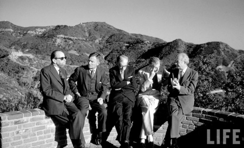 (Left to right) Gerald Heard, Christopher Isherwood, Julian Huxley, Aldous Huxley