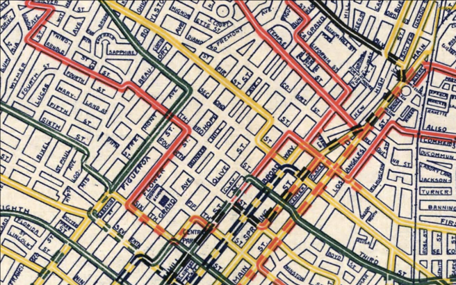 Detail of LA Travel and Hotel Bureau transit map (1906)
