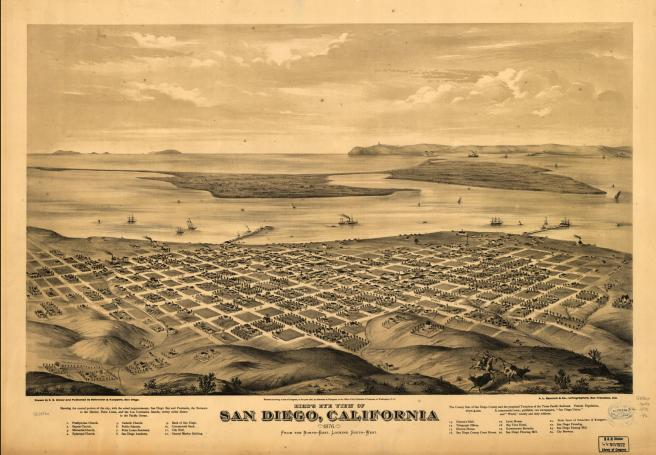 Bird's Eye View of San Diego, California 1876