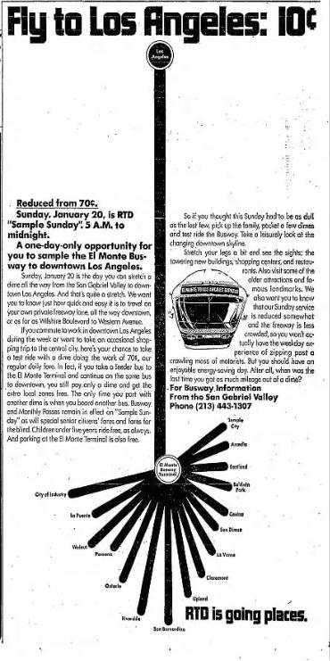 El Monte Busway advertisement, 1974
