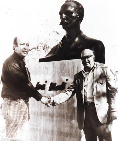 Civil engineer Carlos Sebastian Lorente & sculptor Sergio López-Mesa installing José Martí Monument 1976. | Cuban California Archive USC Libraries Special Collections