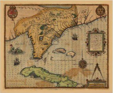Mapa de Cuba y La Florida, 1591